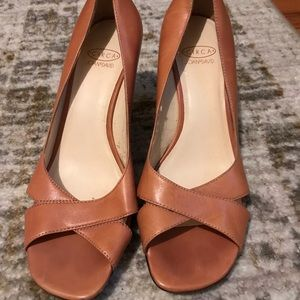 Circa Joan & David Peep Toe Wedges Orange